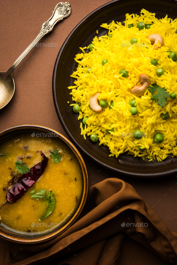 Green Peas Yellow Pulao - Stock Photo - Images