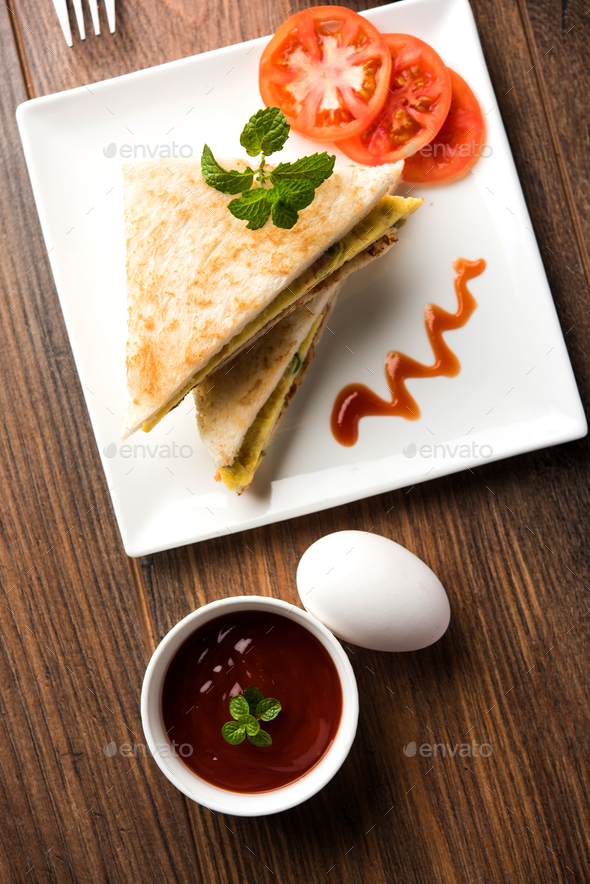 Bread Omelette Sandwich - Stock Photo - Images