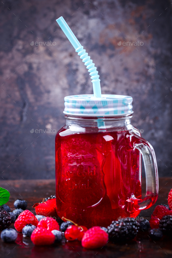 Drink Summer from Mix Berries .Detox diet food concept. - Stock Photo - Images