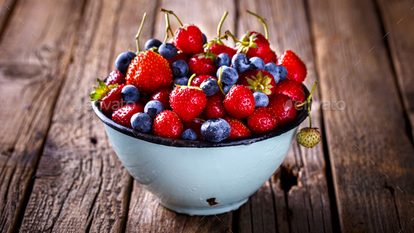 Fresh Strawberries and Blueberries.Food or Healthy diet concept. - Stock Photo - Images