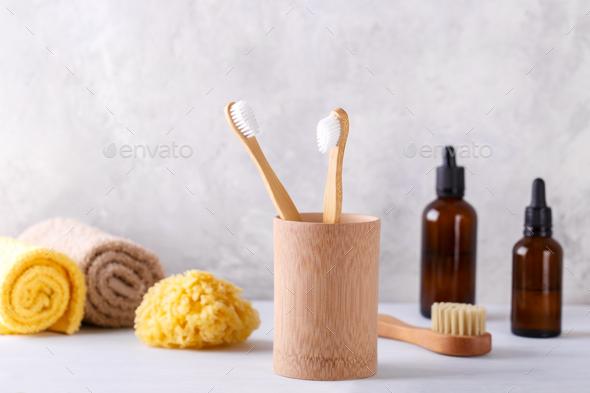 Zero waste bathroom items - Stock Photo - Images