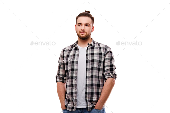 Bearded casual male isolated on white background. - Stock Photo - Images