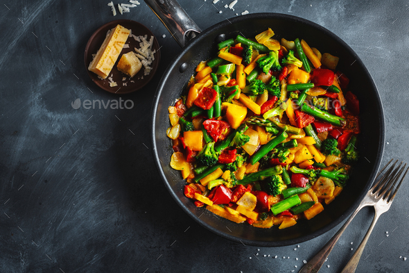 Fried vegetables with sauce on pan - Stock Photo - Images