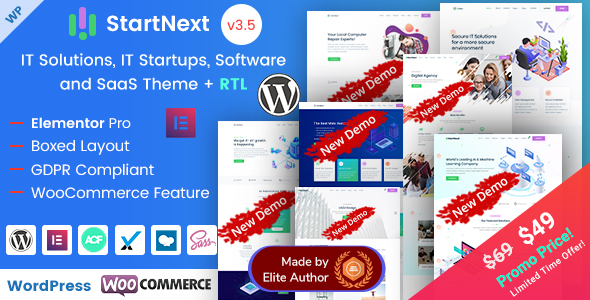 StartNext - Elementor IT & Business Startups WP Theme