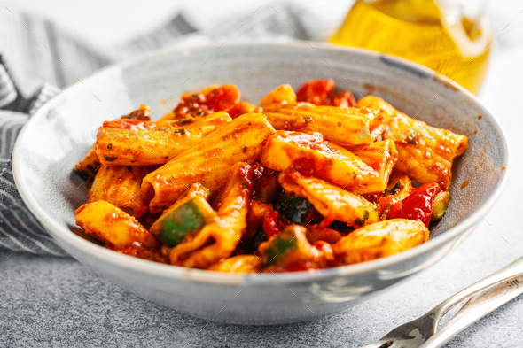 Pasta with tomato sauce with vegetables - Stock Photo - Images