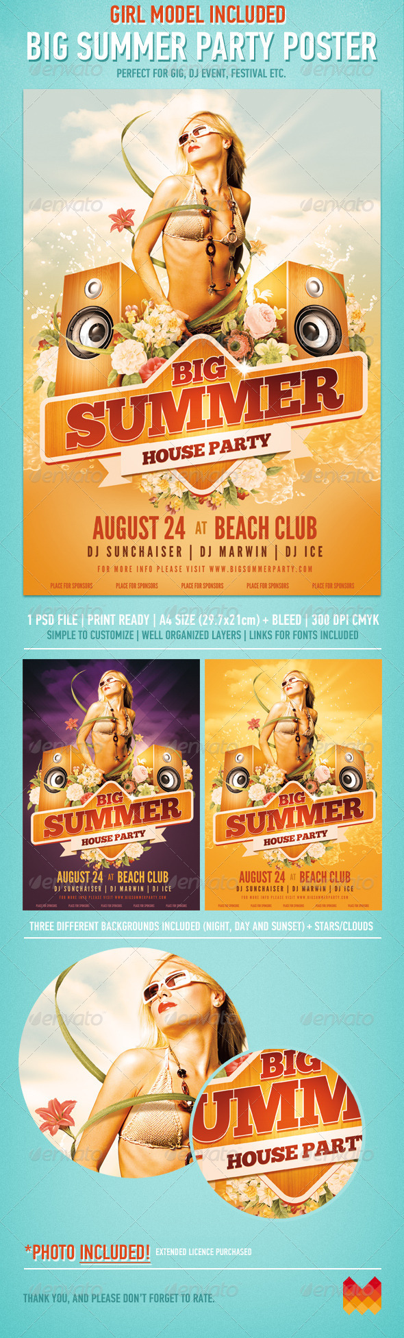 Big Summer Party Poster - Events Flyers