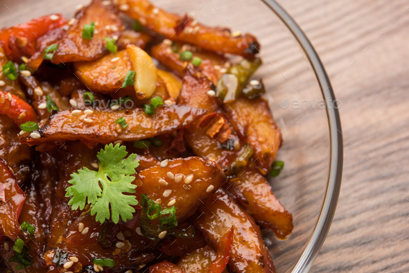 Honey Chilli Potato Wedges - Stock Photo - Images