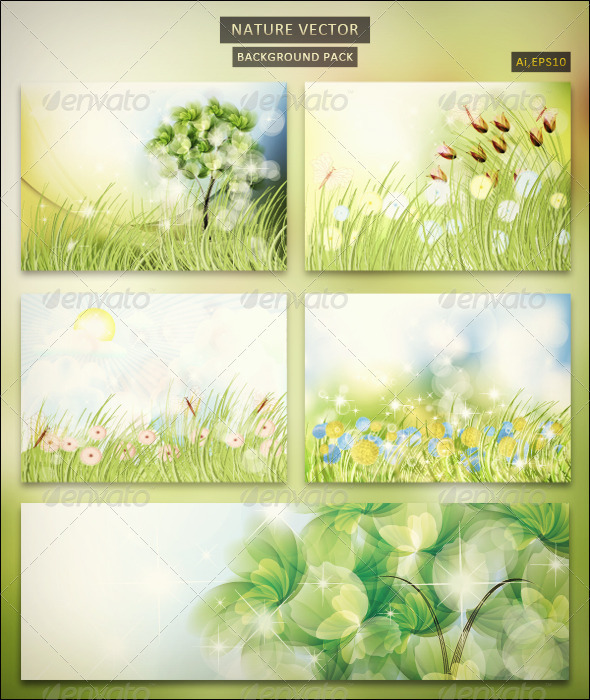 Nature Vector Background Pack - Backgrounds Decorative