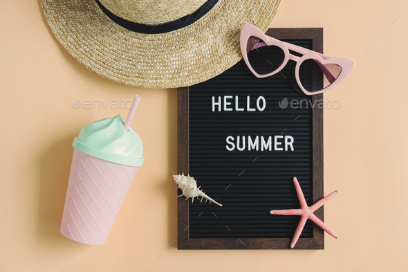 Travel accessories items on color background, Summer vacation concept - Stock Photo - Images