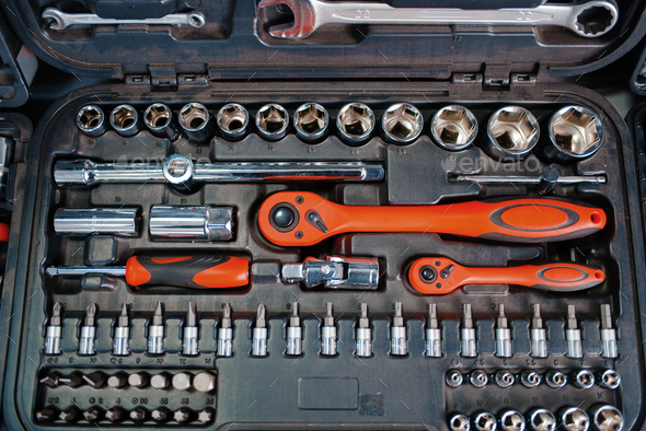 Toolbox with ratchet heads in tool store closeup - Stock Photo - Images