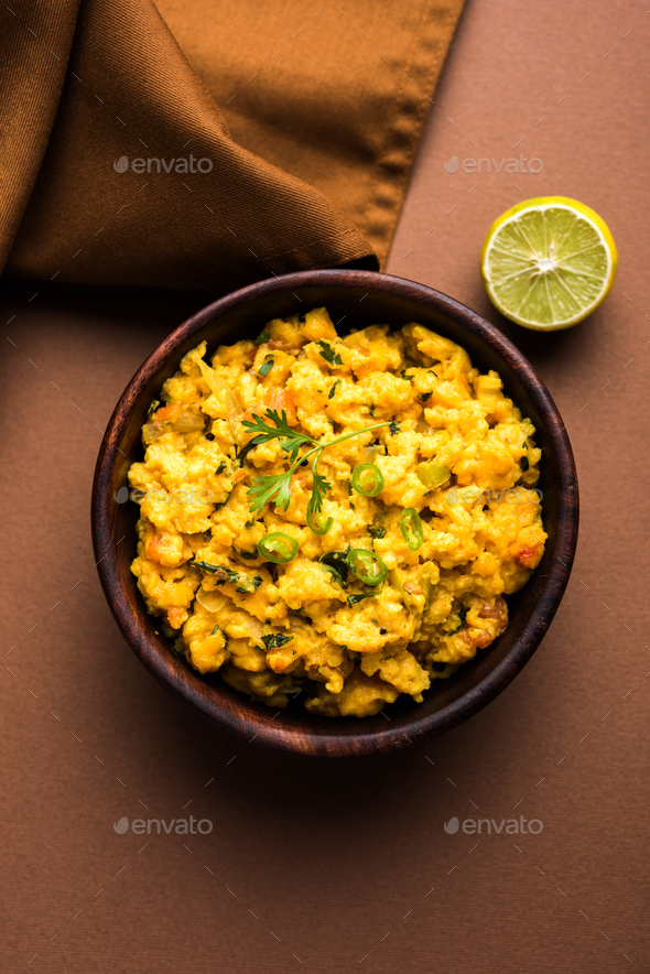 Pithla Bhakar or Zunka Bhakar - Stock Photo - Images