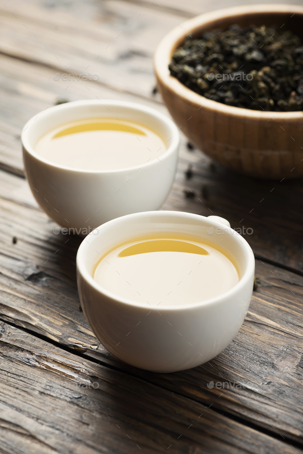 Two cups with hot green tea - Stock Photo - Images