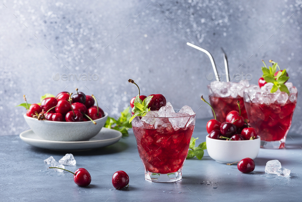 Summer alcholic coktail with cherry - Stock Photo - Images