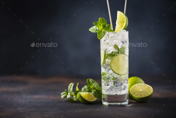 mojito with lime, mint  and ice - Stock Photo - Images