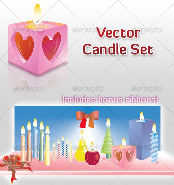 Vector Candle Set - Miscellaneous Seasons/Holidays