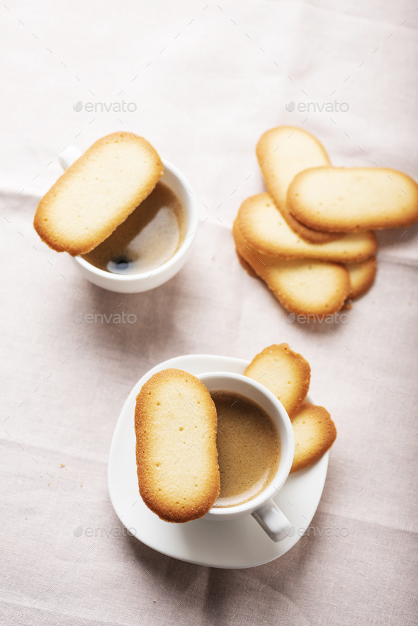 Italian traditional cookies Cat tongues - Stock Photo - Images
