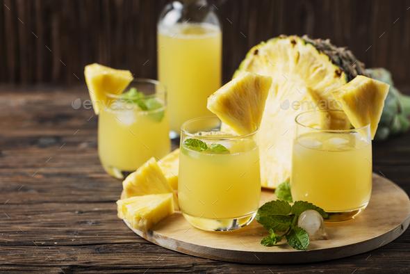 Fresh summer pineapple juice - Stock Photo - Images