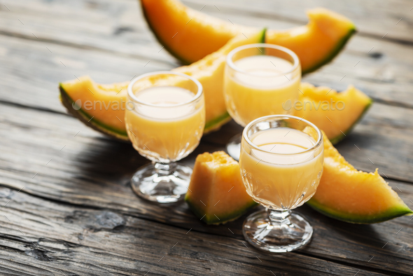 liquor with melon and cream - Stock Photo - Images