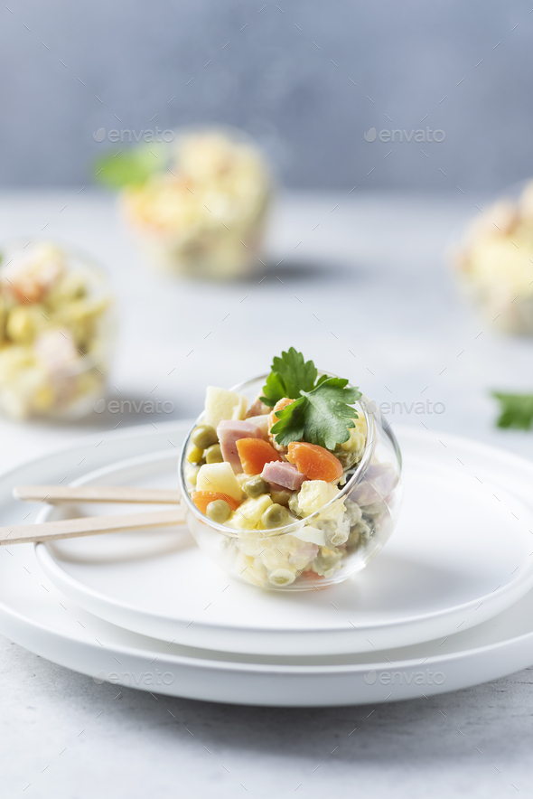 Traditional Russian salad Olivier - Stock Photo - Images