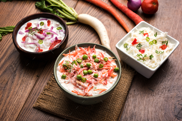 Onion, Carrot & Radish Raita - Stock Photo - Images