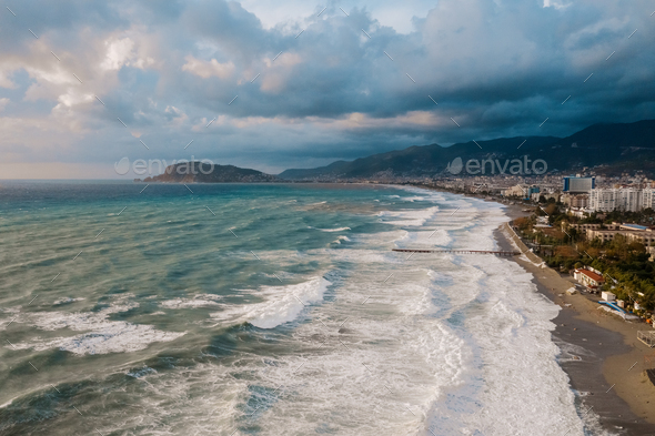 Aerial view of city on the coast of the sea in Turkey - Stock Photo - Images