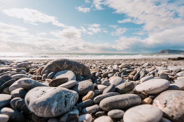 Touristic stone shore and sea in Turkey - Stock Photo - Images