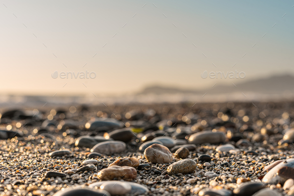 Close up stone background with blurred sky on the horizon - Stock Photo - Images