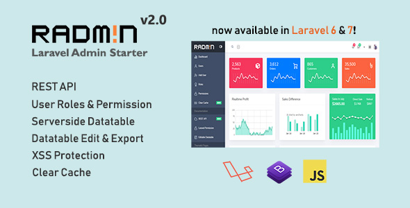 Download Radmin – Laravel Admin starter with REST API, User Roles & Permission Free Nulled