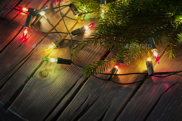 Christmas card with lights and vintage background - Stock Photo - Images
