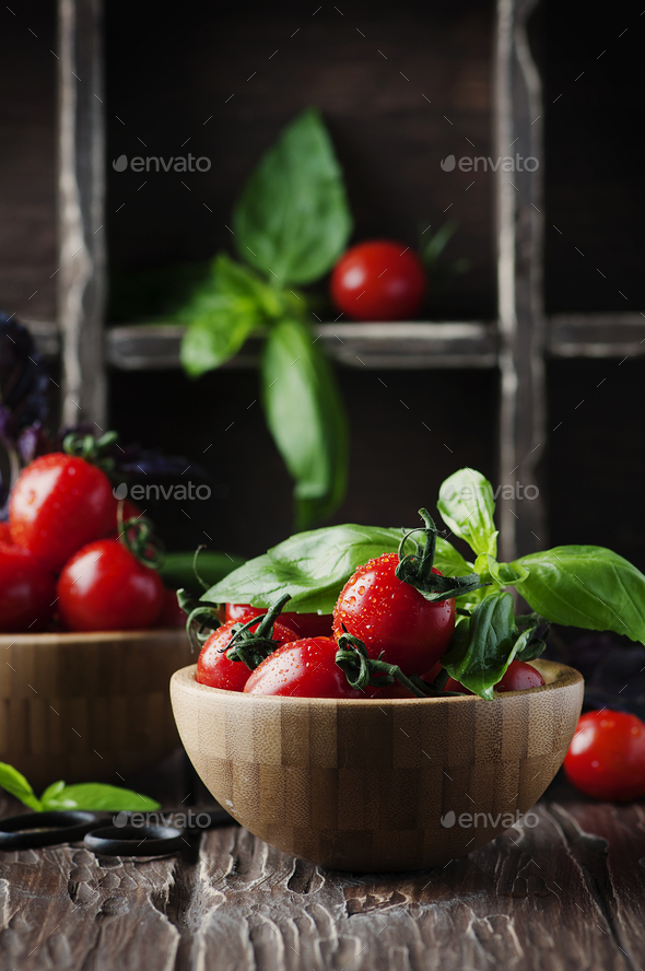 Concept of healthy eating with tomato and basil - Stock Photo - Images