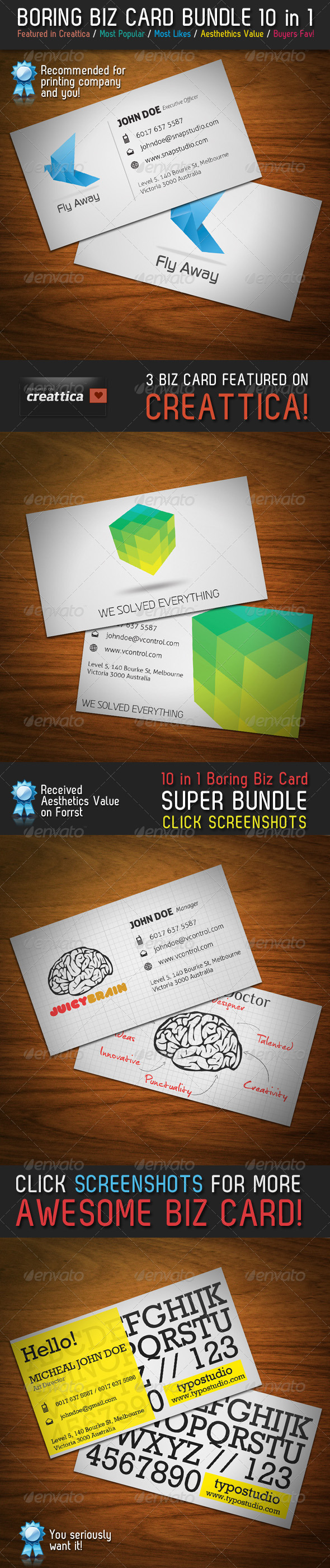 Boring Business Card Bundle 10 in 1 - Corporate Business Cards
