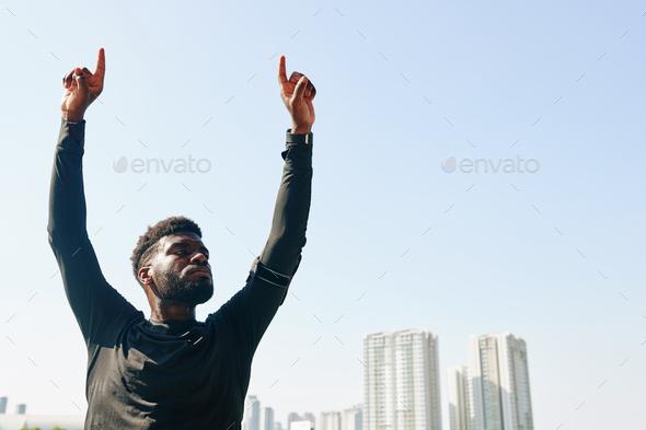 Confident serious sportsman - Stock Photo - Images