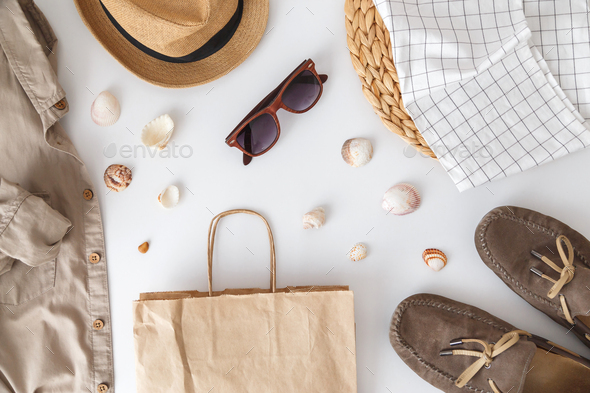 Male hipster summer fashion set of accessories and clothes on white. Vacation and travel items - Stock Photo - Images