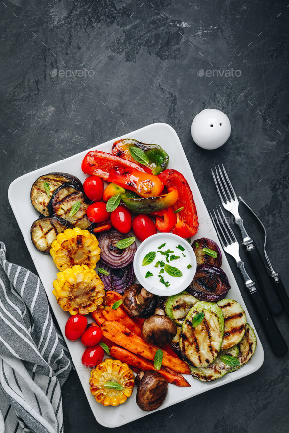 Grilled Vegetable Platter with Zucchini, mushrooms, eggplant, carrots - Stock Photo - Images