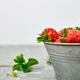 Strawberries in grey bowl. Fresh strawberries. Beautiful strawberries. - PhotoDune Item for Sale