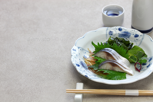 simesaba, japanese salted and vinegared mackerel sashimi - Stock Photo - Images