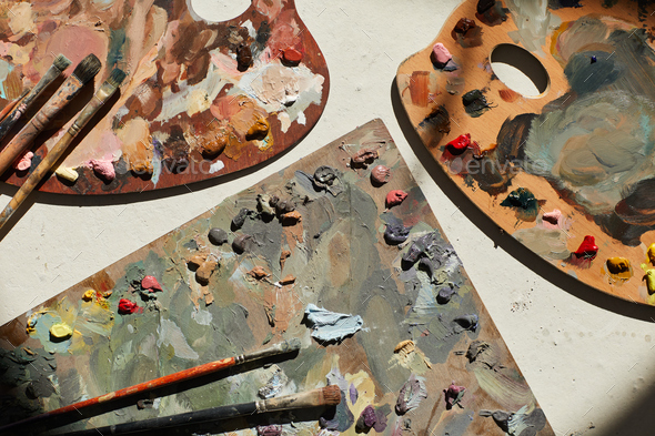 Background Image of Artists Palettes - Stock Photo - Images