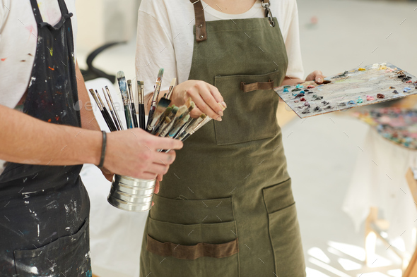 Unrecognizable Creative Couple Painting Together - Stock Photo - Images