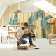 Bearded Artist Painting Abstract Picture in Workshop - PhotoDune Item for Sale