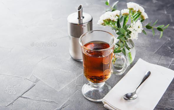 Glass cup of black tea, tea ceremony - Stock Photo - Images