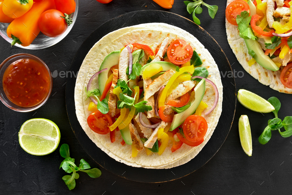 Tacos with chicken meat and vegetables - Stock Photo - Images