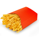 French fries in a red carton box isolated on white background. - PhotoDune Item for Sale