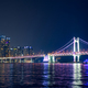 Gwangan Bridge and skyscrapers in the night. Busan, South Korea - PhotoDune Item for Sale