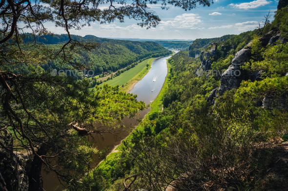 Germany. View from the Bastei rock formation down the Elbe river. Visiting Saxon Switzerland - Stock Photo - Images