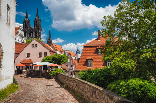 Meissen fable like old town with Albrechtsburg Castle. town Medieval buildings with orange tiled - Stock Photo - Images