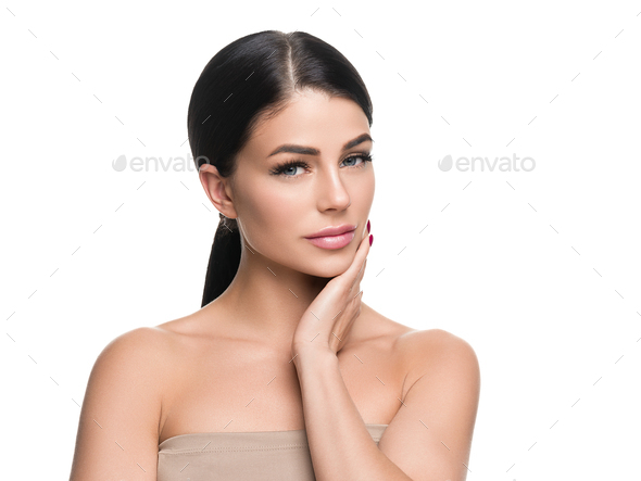 Beautiful woman cosmetic concept healthy skin and hair isolated - Stock Photo - Images