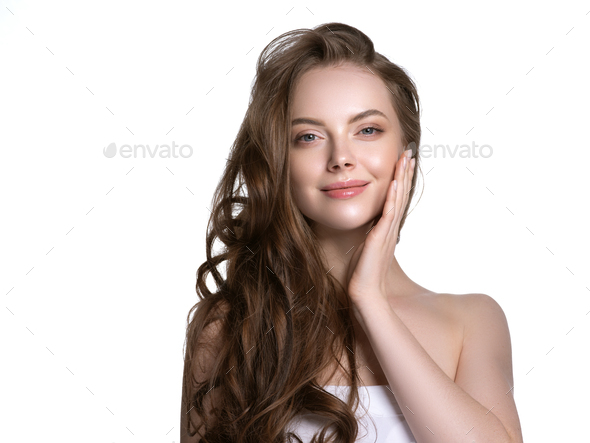 Long hair young model woman beautiful skin - Stock Photo - Images