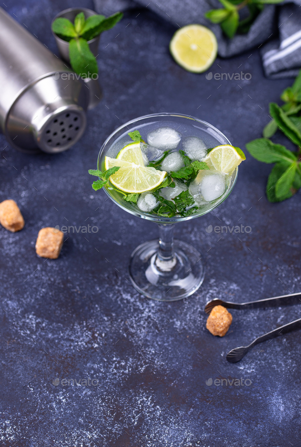 Martini cocktail with lime and mint - Stock Photo - Images