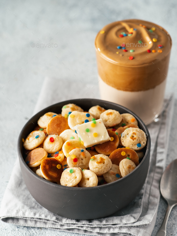 baby cereal pancakes and dalgona coffee - Stock Photo - Images