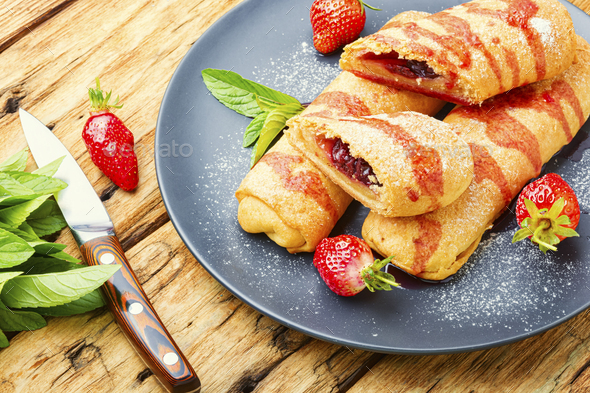 Homemade pies with strawberries. - Stock Photo - Images